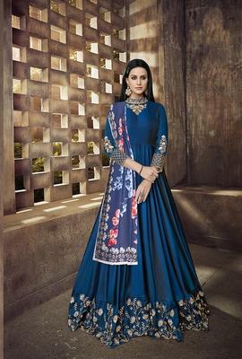 Blue embroidered taffeta salwar
