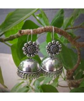 Oxidised Metal Silver Earring