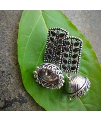 Oxidised Metal Silver Earring