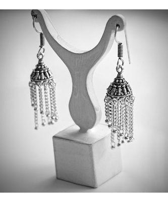 Oxidised metal Glass  Earring