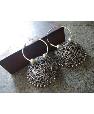 Oxidised Metal Glass  Earring