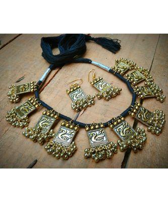 Oxidised metal Silver Necklace