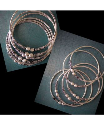 Oxidised metal silver Bangle set of 6