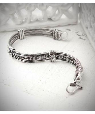 Oxidised metal silver bracelet