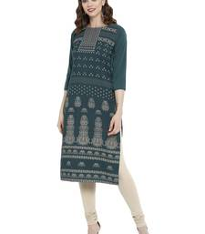 Sea-green printed crepe kurtas-and-kurtis