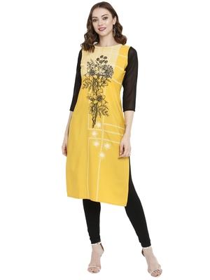 Mustard printed crepe kurtas-and-kurtis