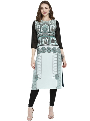 Multicolor printed crepe kurtas-and-kurtis