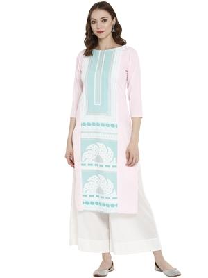 Light-pink printed crepe kurtas-and-kurtis