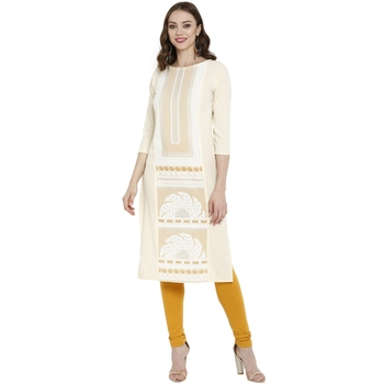 Cream printed crepe kurtas-and-kurtis