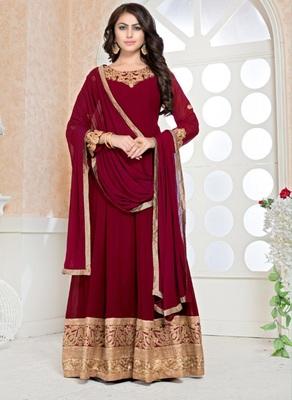 Red Faux Georgette Designer Anarkali Suit