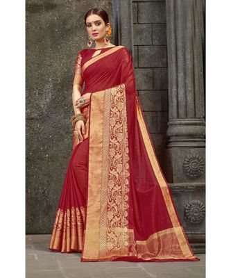 maroon woven pure linen saree with blouse