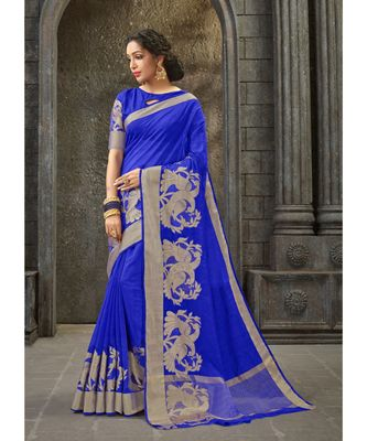 blue woven pure linen saree with blouse