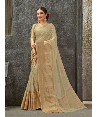 beige woven pure linen saree with blouse