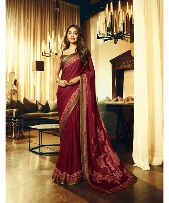 maroon brasso satin saree with blouse