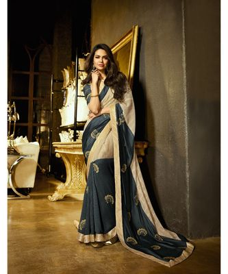cream embroidered art silk saree with blouse