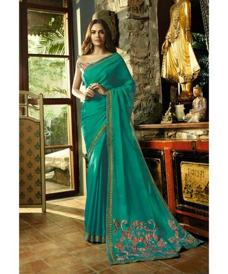 turquoise embroidered cotton saree with blouse
