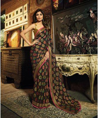 Black brasso art silk saree with blouse