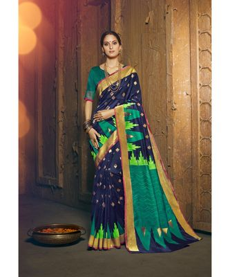blue woven silk cotton saree with blouse