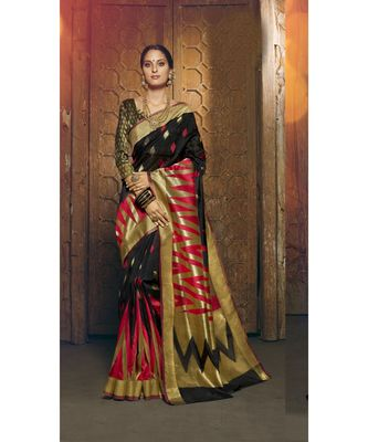 black woven silk cotton saree with blouse