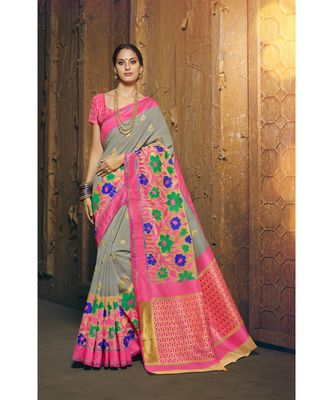grey woven silk cotton saree with blouse