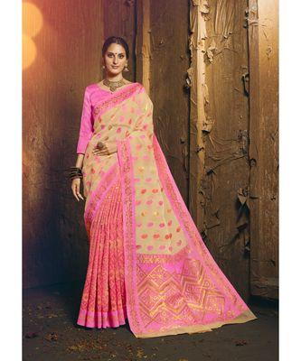cream woven silk cotton saree with blouse