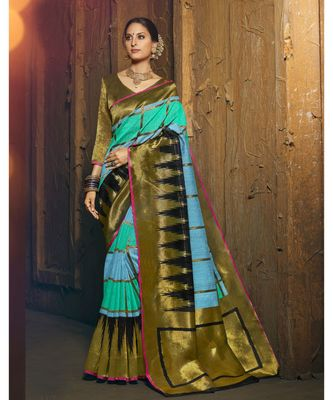 green woven silk cotton saree with blouse