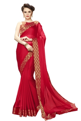 Red printed pure chiffon saree with blouse