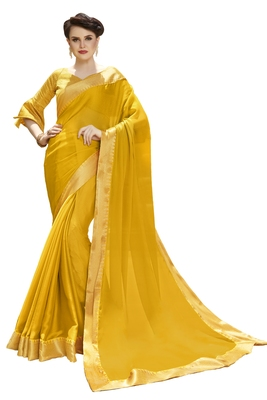 Yellow printed pure chiffon saree with blouse