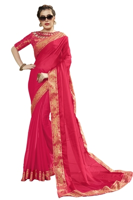 Pink printed pure chiffon saree with blouse