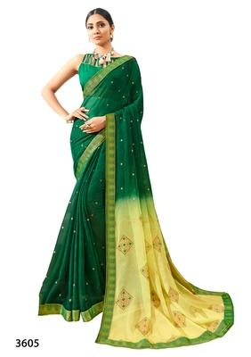 Green printed pure chiffon saree with blouse