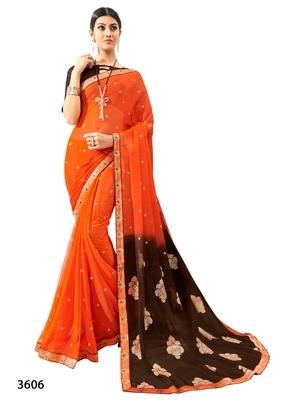 Orange printed pure chiffon saree with blouse