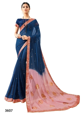 Navy blue printed pure chiffon saree with blouse