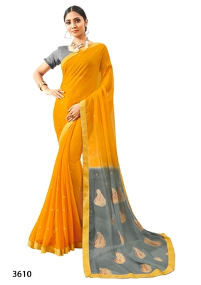 Yellow printed pure chiffon saree with blouse