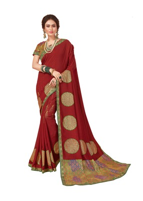 Maroon printed silk saree with blouse