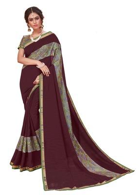 Coffee printed silk saree with blouse