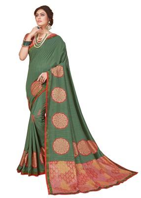 Mehendi printed silk saree with blouse