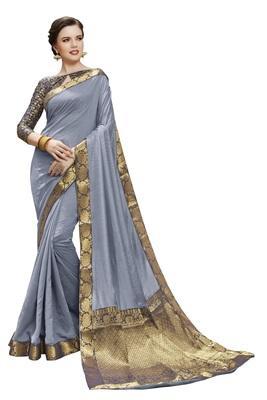 Grey printed silk saree with blouse