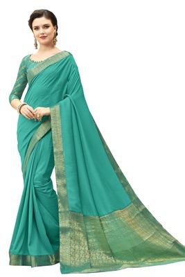 Dark sky blue printed silk saree with blouse