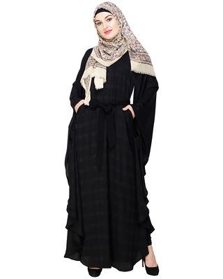 Black embroidered satin irani kaftan abaya