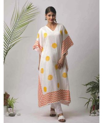 White printed Junee Cotton Kaftan