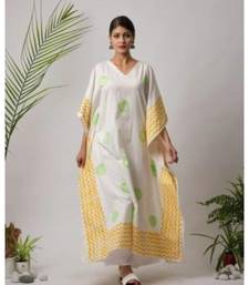 White printed Isika Cotton Kaftan