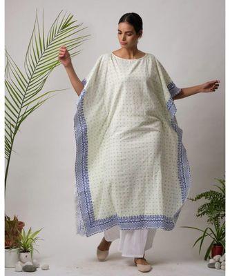 White printed Sona Cotton Kaftan