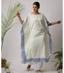 White printed Sona Cotton Kaftan