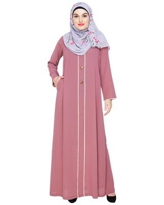 Onion-pink embroidered nida abaya