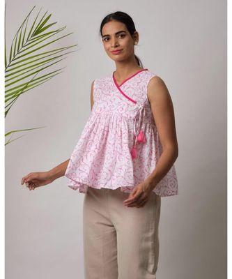 white printed Camila Cotton Top