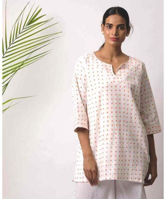White printed Lzan Cotton Top