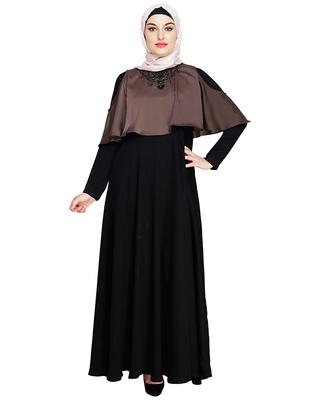 Brown embroidered satin dubai style abaya