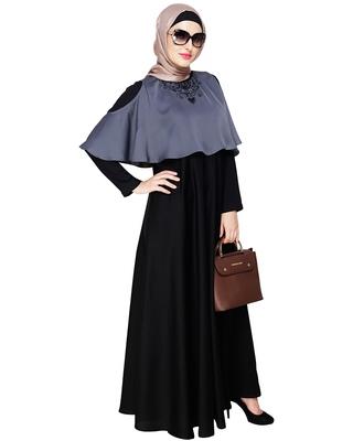 Grey embroidered satin dubai style abaya