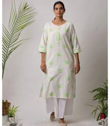 White printed Carlos Cotton Kurta