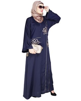 Blue embroidered satin dubai style abaya